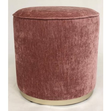 Scully Fabric Stool Bench Seat Ottoman Foot Rest Chair Pouf Timber Pink 43x41cm