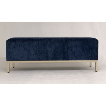 Brand Fabric Bench Seat Ottoman Foot Rest Chair Pouf Metal Navy 121x47cm