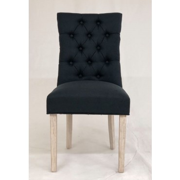 Bulk 2 Vicky Dining Fabric Chair Seat Sofa Lounge Tub Timber Black 64x98cm