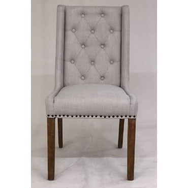Bulk 2 Maria Dining Fabric Chair Seat Sofa Lounge Tub Timber Beige 58x103cm