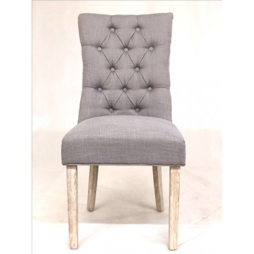 Bulk 2 Vicky Dining Fabric Chair Seat Sofa Lounge Tub Timber Grey 64x98cm