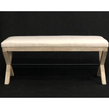 Joshua Fabric Bench Fabric Bench Seat Ottoman Chair Pouf Beige 101x45cm