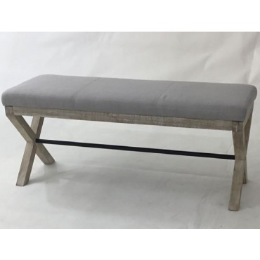 Joshua Fabric Bench Fabric Bench Seat Ottoman Chair Pouf Timber Grey 101x45cm