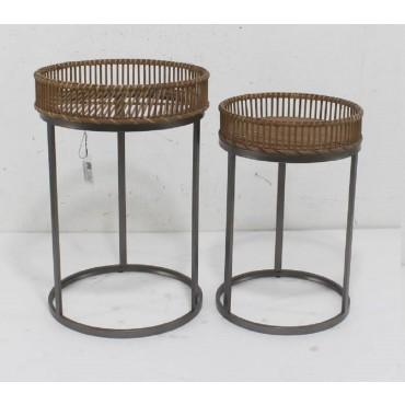 Set 2 Side Table Lamp Unit Nightstand Metal Rattan Natural 43x61cm