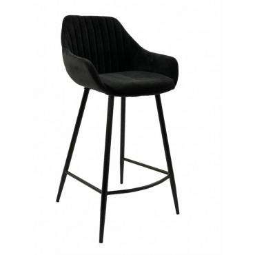 Bulk 2 September Fabric Stool Seat Sofa Lounge Provincial Velvet Black 47x95cm