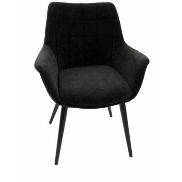 Bulk 2 September Fabric Chair Seat Sofa Lounge Provincial Velvet Black 65x85cm