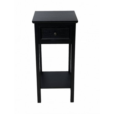 Lewis Bedside Table Lamp Bed Side Unit Nightstand Timber Black 35x75cm