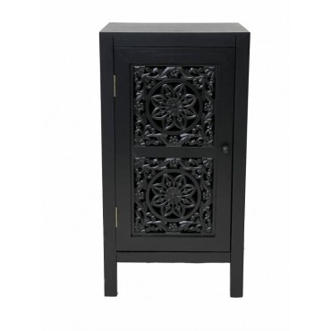 Willow Bedside Table Lamp Bed Side Unit Nightstand Timber Black 38x72cm