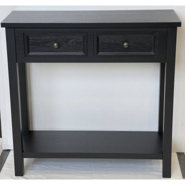 Lewis Console Table Hallway Hall Unit Entry Side Timber Black 80x78cm