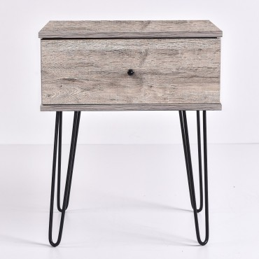 Ashe Bedside Table Lamp Bed Side Unit Nightstand metal leg Alaska Oak 50x61cm