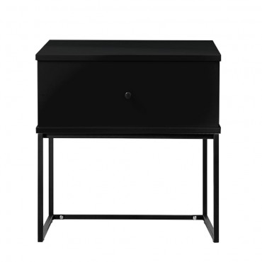 Morena Bedside Table Lamp Bed Side Unit Nightstand Black 50x50cm