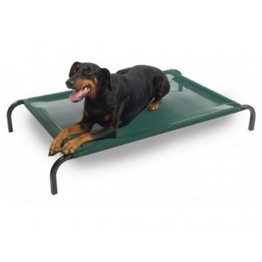 Fleafree Dog Bed Medium Cat Pet Puppy Trampoline Steel Tube Green 90x20cm
