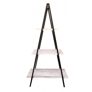 Large 3 Tier A Frame Shelf Rack Stand Bookshelf Metal Timber Black White 120cm