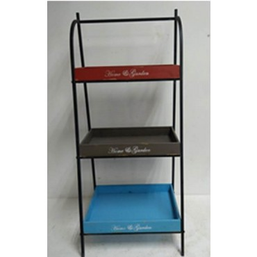3 Tier Shelf Shelve Rack Stand Bookshelf Metal Timber 50x117cm