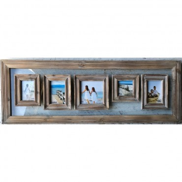 3 Opening Photo Frame W Glass Picture Wall Art Hanger Decor Natural 75X38Cm