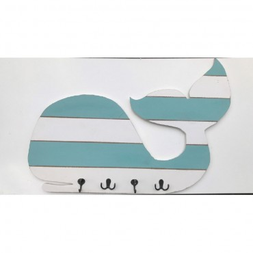 Wall Sign w Hooks Wall Hanger Hanging Holder Wood Metal White Blue 75x58cm
