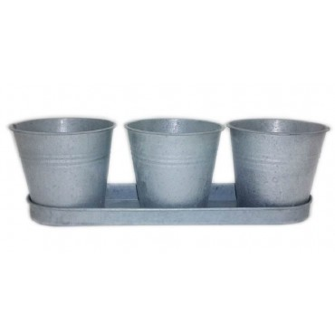 bulk 8 Galvanize 3 Pot Planter Tray Set Pot Flower Holder Garden Silver 32x10cm