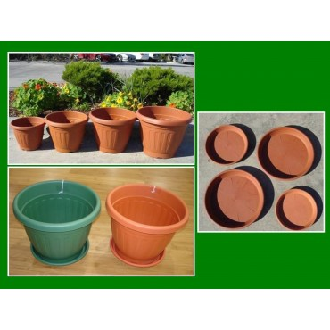 bulk 15 Pot And Saucer Set Pot Flower Holder Garden Plastic 28x22cm