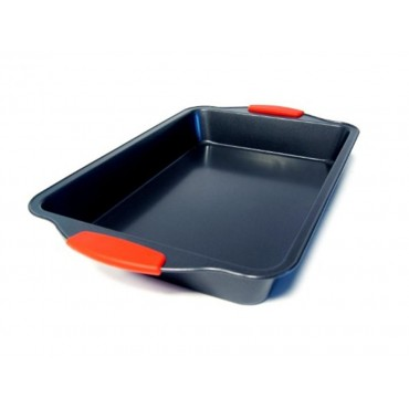 bulk 12 Baking Tray W/ Silicone Handle Oven Dishes Plate Carbon Steel 36x5.5cm