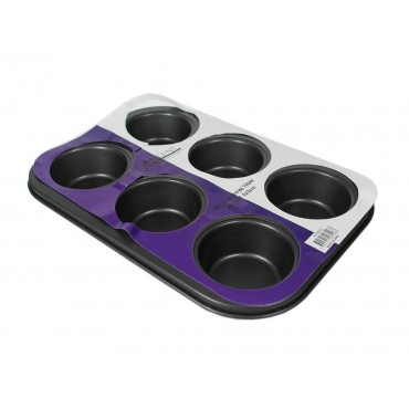 bulk 18 6 Cup Muffin Tray Oven Dishes Plate Carbon Steel Dark Grey 26x3cm