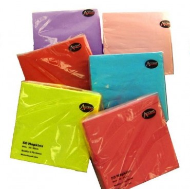 bulk 720 Coloured Napkin 2Ply Assorted Party 33x1cm