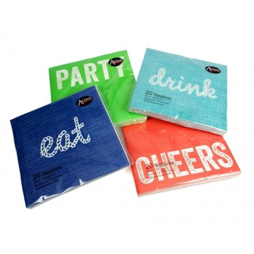 bulk 960 Eat And Drink Design Napkin 2Ply 4 Designs Party 33x1cm