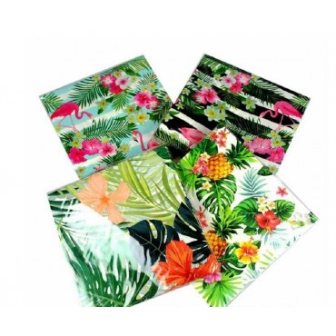 bulk 960 Tropical Leaf & Flower Napkin 2Ply 4 Designs Party 33x1cm