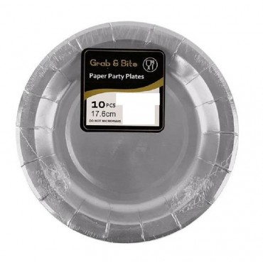 bulk 240 Disposable Metallic Side Plate Party Paper Silver 17x1cm