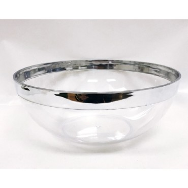 bulk 48 Disposable Plastic Salad Bowl Party Dinner Desert Silver Rim 19x8cm