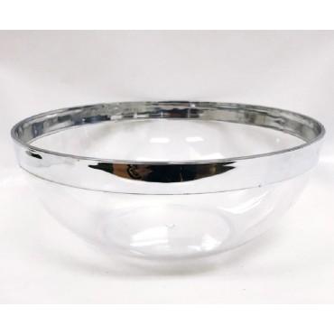 bulk 24 Disposable Plastic Salad Bowl Party Dinner Desert Silver Rim 24x10cm