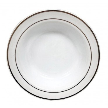 bulk 144 Disposable Plastic Bowl Party Dinner Desert Silver Rim 19x6cm