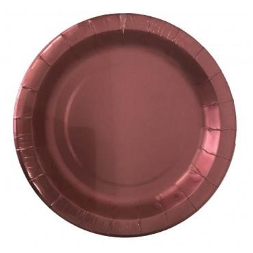 bulk 240 Disposable Matt Metallic Side Paper Plates Party Dinner Pink 23x2cm