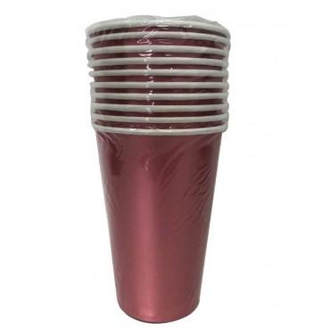 bulk 240 Disposable Matt Metallic Paper Cups Party Dinner Desert Pink