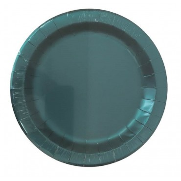 bulk 240 Disposable Matt Metallic Side Paper Plates Party Dinner Blue 18x2cm