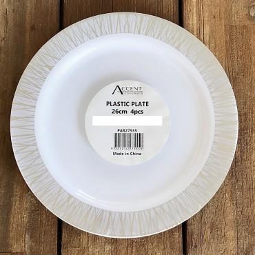 bulk 96 Disposable Plastic Dinner Plate Party Dinner Desert Plastic White 26x2cm