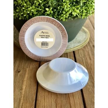 bulk 144 Disposable Plastic Bowl Party Dinner Desert Plastic White 18x3cm