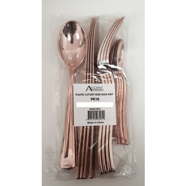 bulk 384 Disposable Plastic Cutlery Spoon Fork Knife T-Spoon Set Party Rose Gold