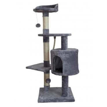 Large Cat Tree Scratching PosPost Sisal Pole Condo Toy Fabric Grey 40x112cm