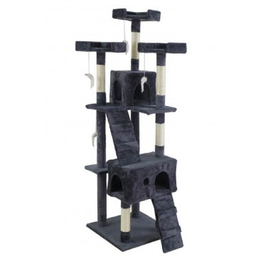 Large Cat Tree Scratching PosPost Sisal Pole Condo Toy Fabric Grey 50x170cm