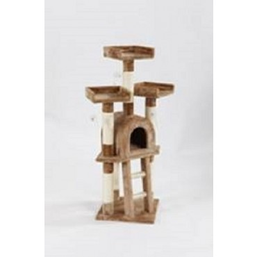 Cat Tree Scratching Post Sisal Pole Condo Toy Timber Fabric Brown 40x115cm