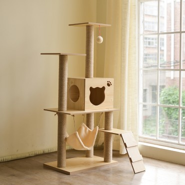 Cat Tree Scratching Post Scratching Post Sisal Pole Condo Toy 60x127cm