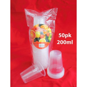 bulk 24 Disposable Cup 200Ml Party Dinner Desert Plastic  Clear
