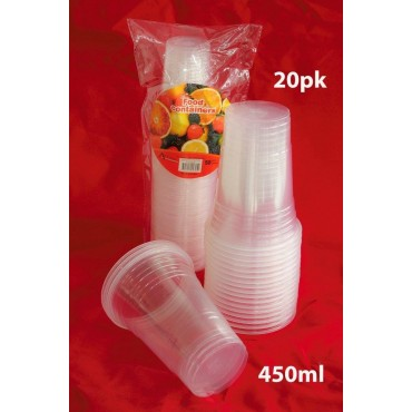 bulk 24 Disposable Cup 450Ml Party Dinner Desert Plastic  Clear