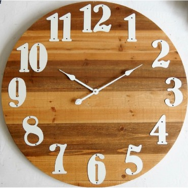 Large Round Wall Clock W Elevated Numbers Hanging Art Display Decor Timber 91Cm