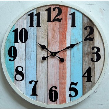 Round Wall Clock W Metal Numbers Hanging Art Display Decor Timber Metal 80Cm
