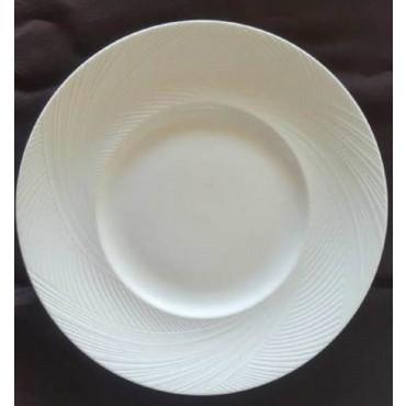 bulk 24 Bone Chinarrow Rim Round Dinner Plate Serving Dinner White 28x2cm