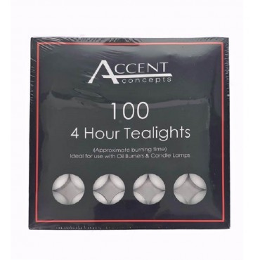 bulk 1000 Accent 4 Hour Tealight Candle Wedding Wax White