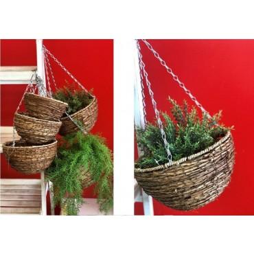 Set Of 5 Round Basket With Hanging Chain Storage Holder Rattan Brown 31x58cm