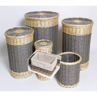 Set Of 5 Willow Round Laundry Storage Basket Holder Fruit Willow 44x58cm