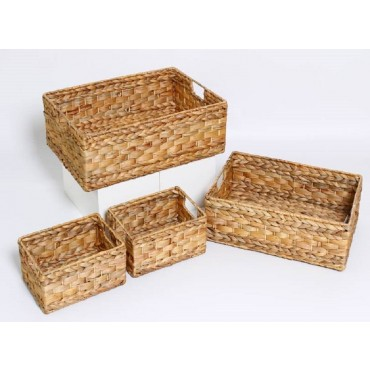 Set Of 4 Rectangle Basket Storage Holder Fruit Water Hyacinth Brown 48x16cm